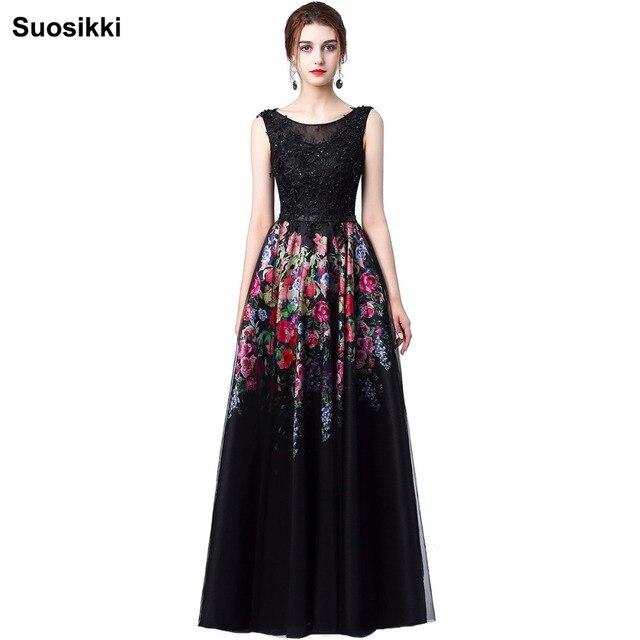 1716e5417 Suosikki mujeres largo negro Vestido De noche Sexy tanque sin mangas encaje  tul apliques Vestido De