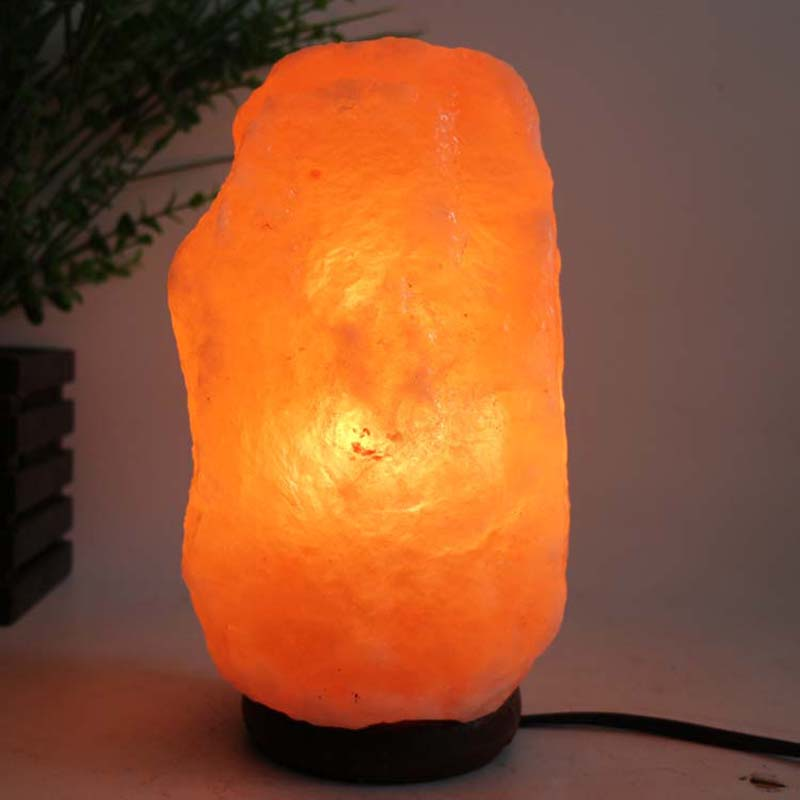 Goed Himalaya Zout Lamp Met Neem Houten Basis + Plug + Schakelaar + Led Lamp Voor Luchtzuivering Therapie Natuurlijke Minerale Rock Licht