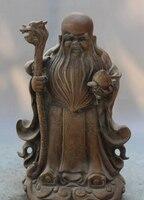 xd 002505 10 Chinese Bronze Fu RuYi Dragon Crutch God Longevity Peach Shou Star Statue