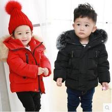 Мода 2017 детские зимние куртки вниз пальто верхняя одежда сплошной цвет хлопка-ватник ребенка утолщение зимнее пальто