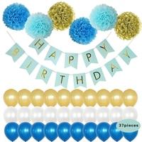 HAOCHU 21pcs Happy Birthday Banner Paper Lovely Birthday Bunting Baby Boys Girls Baptism Photo Props Blue Paper Pom Pom Balls