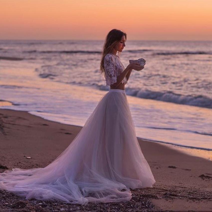 Vintage Soft Tulle Long Train Beach Tulle Skirt For Pretty Lady To Wedding Floor Length Tutu Skirt Zipper Style