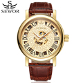 SEWOR Automatic Self-Wind Mechanical Luxury Watch Men Gold Skeleton Leather Watch Fashion Casual Man Wristwatches With Box SWQ39