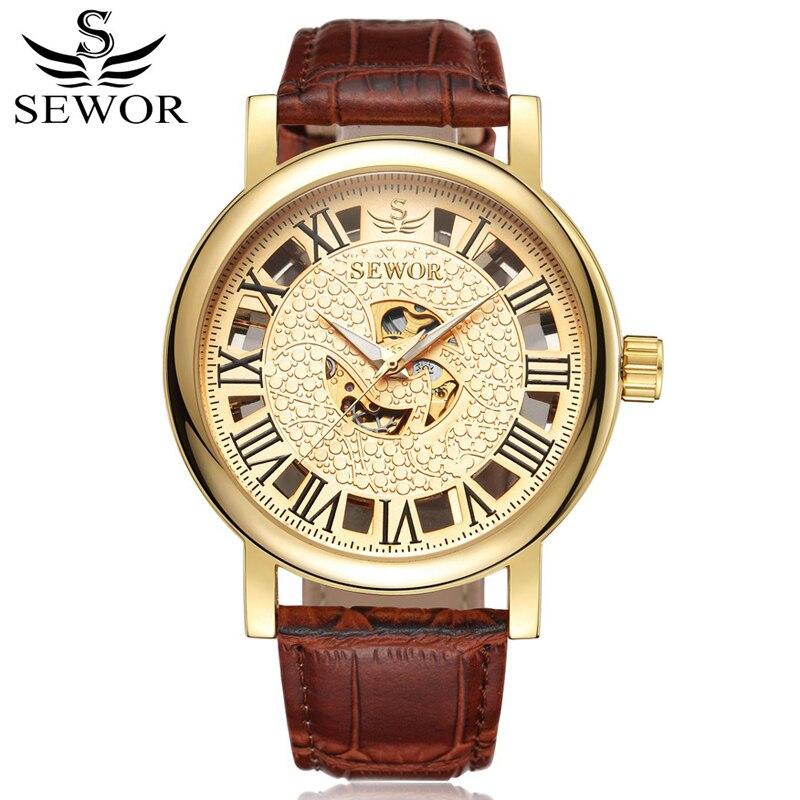 20e084692fe SEWOR Esqueleto Mecânico Automático Auto Vento Homens Relógio de Ouro de Luxo  Homem de Relógio de Couro Moda Casual relógios de Pulso Com Caixa SWQ39 em  ...