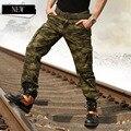 Nueva Llegada de Los Hombres Multi-Bolsillo de Camuflaje Pantalones Overoles Pantalones Masculinos Suelta y Casual Militar Más Tamaño Pantalones