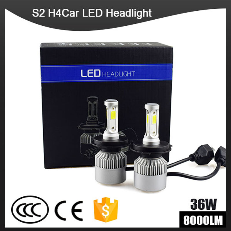 Auto Car H7 LED Headlights H4 LED Head Light 12 24V COB Bulbs Hi Lo beam LED H4 H7 White Automobiles Near Far Light 6500K 8000LM 2pcs h4 30w 3000lm warm white light car head light