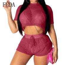 FUDA Fashion Two Pieces Sets Short Sleeve O Neck Top and Lace-up Pants Sexy See Through Casual Playsuits Women Summer Mono Mujer