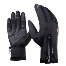 Winter ski cycling gloves male touch screen winter warm thick velvet windproof cold burr riding men's PU gloves