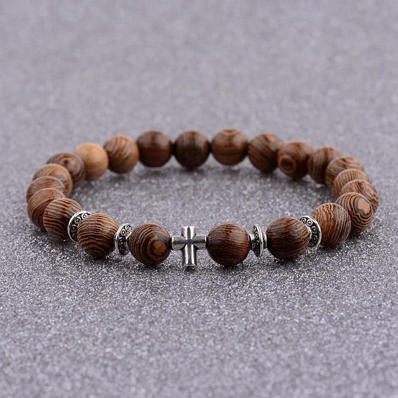 Hot Men Natural Wood Beads Cross Bracelets Onyx Meditation Prayer Bead Bracelet Women Wooden Yoga Jewelry Homme