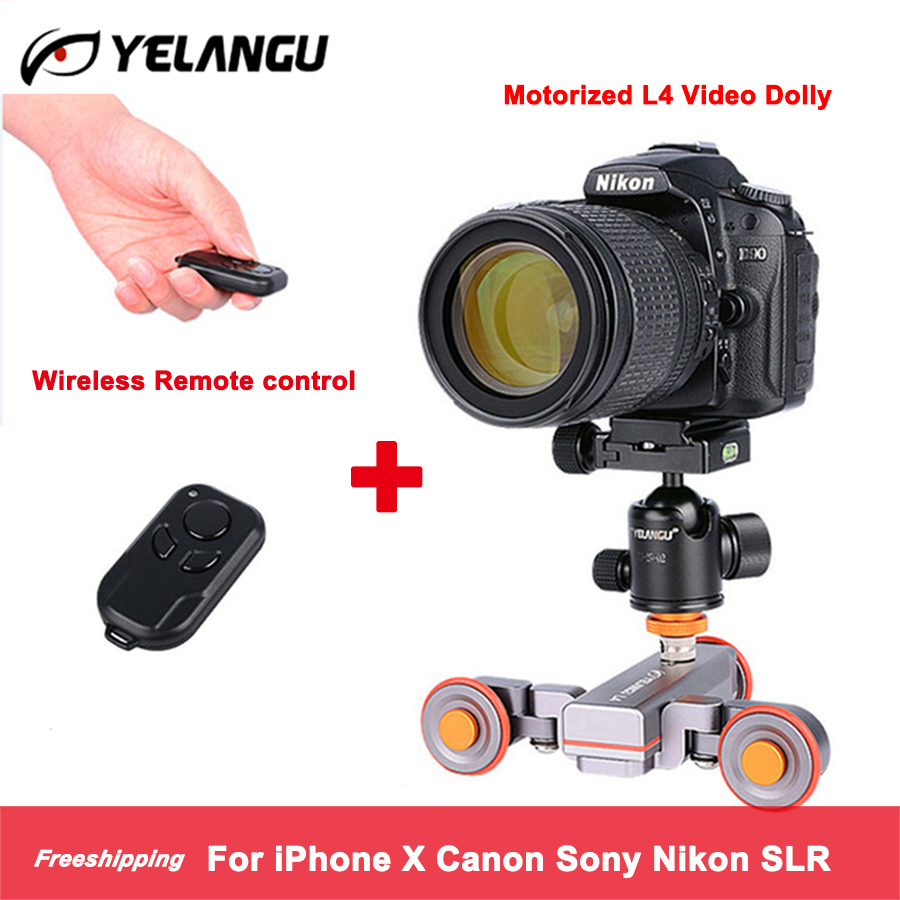 YELANGU L4X Wireless Remote Motorized Electric Track Slider Dolly Car Video Pulley Rolling Skater for DSLR Camcorder Cellphone цена 2017