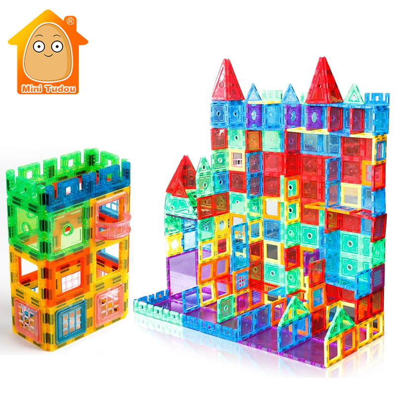 100PCS Big Size Transparente Magnetic Tiles Building Bricks Educational Toys Magnet Game For Children