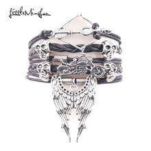 Little MingLouInfinity Love Walking Dead Bracelet Arrow Skull Angel Wing Biker Chick Charm Leather bracelets & bangles for women