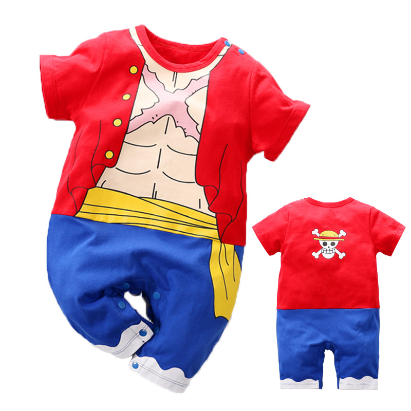 YiErYing High Quality Baby Clothing Baby Cotton   rompers   One Piece Luffy Style Short Sleeve Baby Jumpsuits Baby Boy Girl Clothes