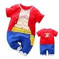 YiErYing/высококачественная одежда для малышей; Детские хлопковые комбинезоны; Цельный Детский комбинезон с короткими рукавами в стиле Луффи; ...