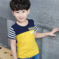 Size110~150 Children t-shirts 2016 kids child tops tees for boys summer short sleeve t shirts yellow green pacthwork