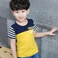 Size110 150 crianças 2016 crianças tops t para meninos verão de manga curta verde pacthwork