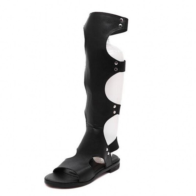 Free shipping new fashion Knee high Gladiato women Casual sandals summer popular low heels shoes women black rome sandals