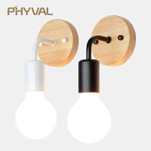 hot deal buy loft vintage wall lamps nordic simple led lamp wall light edison light e27 bedside wall fixtures wood lamp home decoration lamp