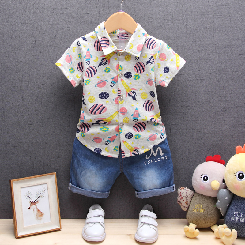 New Baby boy clothes 2017 summer baby girl clothing sets newborn pirate printed short sleeved t-shirt+pants kids 2pcs suit