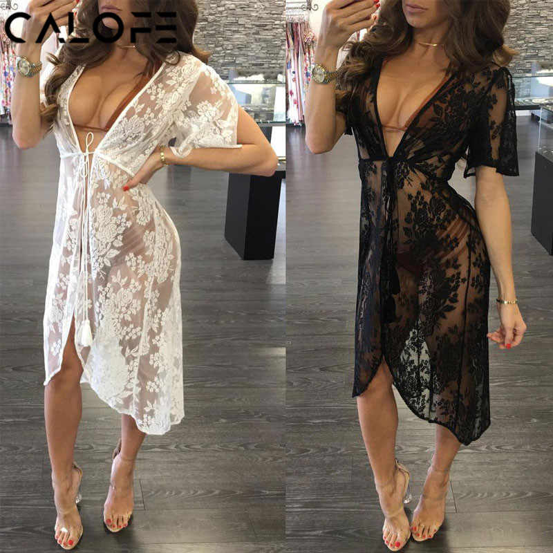 CALOFE Long Lace Sexy Beach Cover Up Swim Dress Women Beach Dress Bikini Cover Up Swimwear Women  Cover-up Bikini Swimsuit Cover