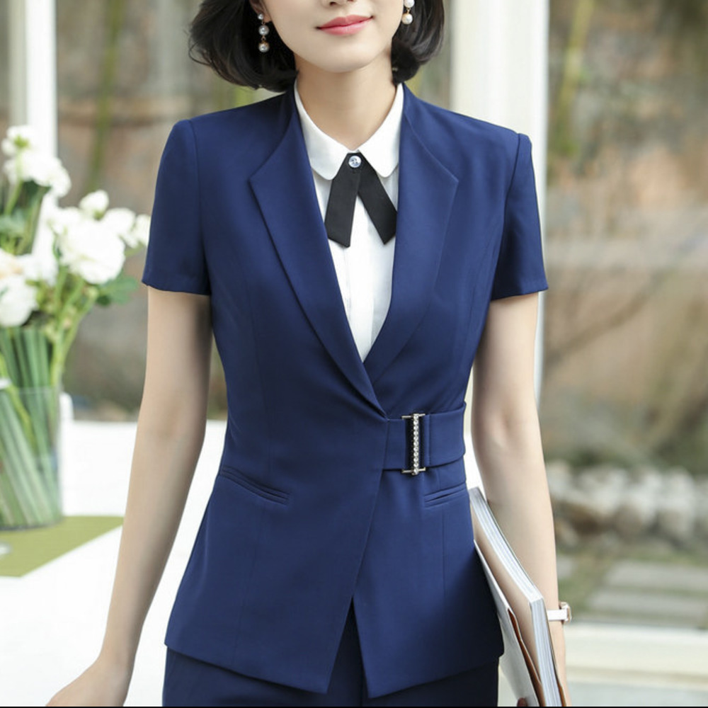 Solid Black Blue Color Belt Blazer Notched Ladies Short Sleeve Suit Blazer Elegant Office Women Summer Autumn OL Blaser