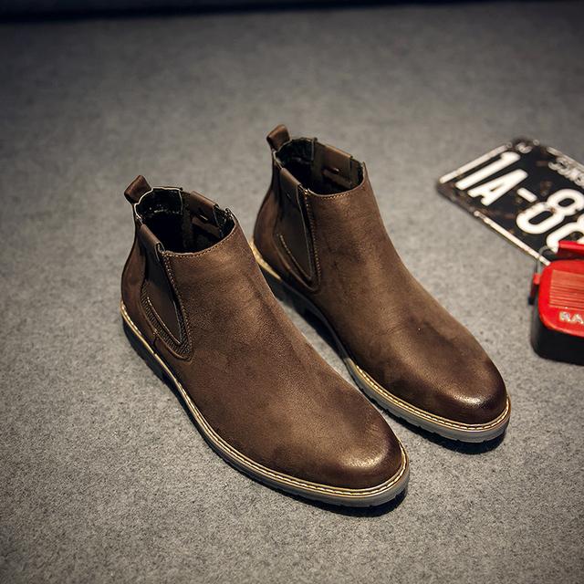 2016 otoño y el invierno Martin botas hombre botas Chelsea aumentaron zapatos de cabeza redonda de espesor inferior esmerilado de cuero hombres zapatos casuales