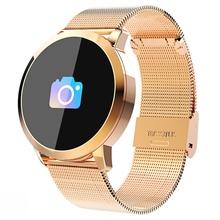 Nowy Q8s OLED Bluetooth smart watch ze stali nierdzewnej wodoodporny poręczny zegarek Smartwatch zegarek na rękę mężczyźni kobiety Fitness Tracker tanie tanio Passometer Tracker fitness Uśpienia tracker Wiadomość przypomnienie Przypomnienie połączeń Naciśnij wiadomość Budzik
