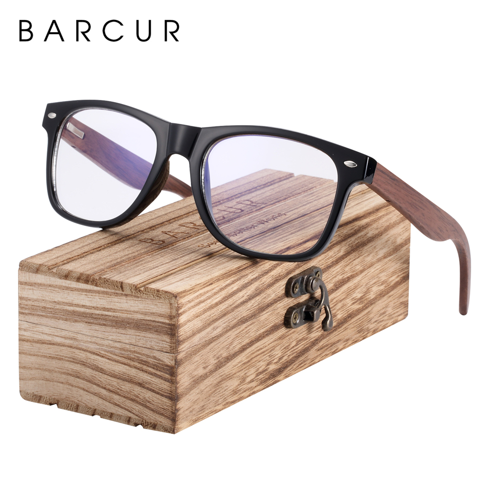 BARCUR Wood Anti Blue Ray Glasses Computer Glasses Optical Eye UV Blocking Gaming Filter Eyewear