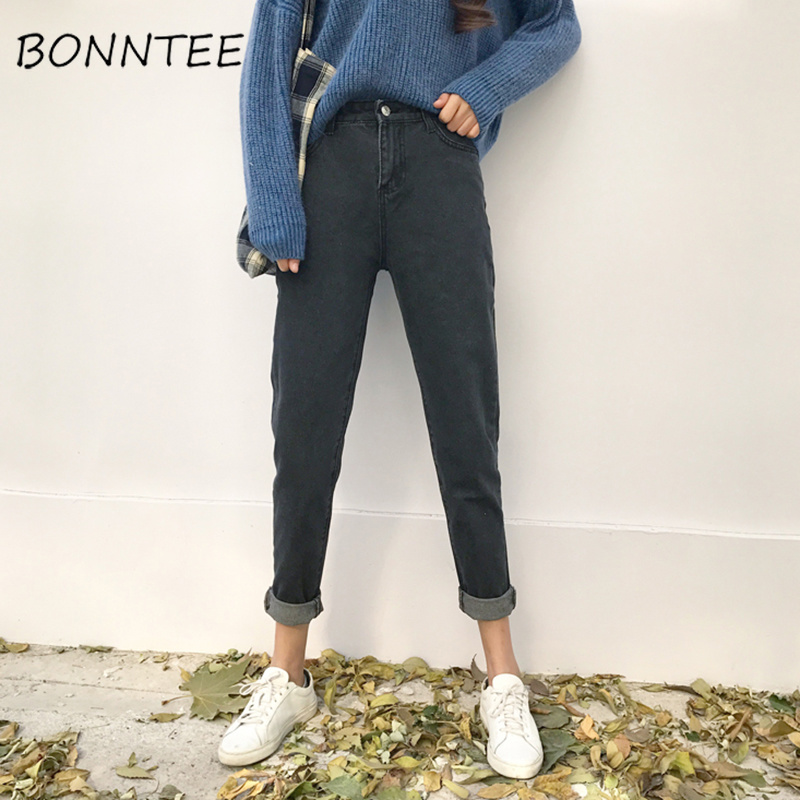 Jeans   Woman Loose High Waist Pockets Korean Style Harajuku Gray   Jean   Female Students All-match Bf Trousers Females Denim Trendy