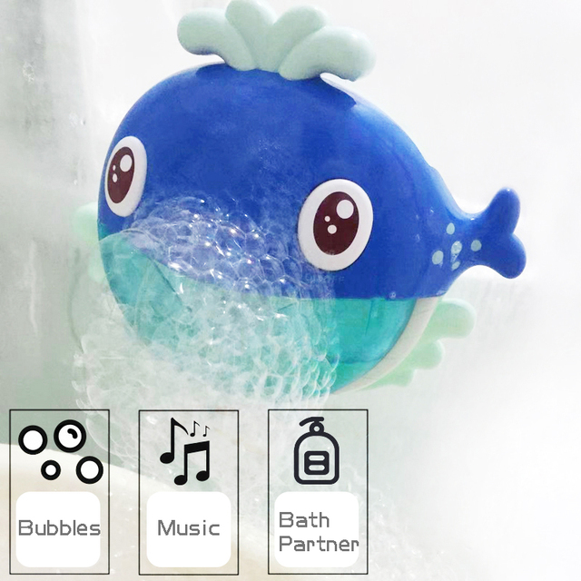 2019 Kids Swimming Water Toys Newborns Whale Bubble Machine Bubble Maker Toy Music Bath Automatic Music Toys for Children