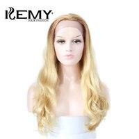Кеми волос мода 24 ''Ombre блондинка Синтетические волосы на кружеве человеческие волосы парики естественная волна парики бразильский человеч
