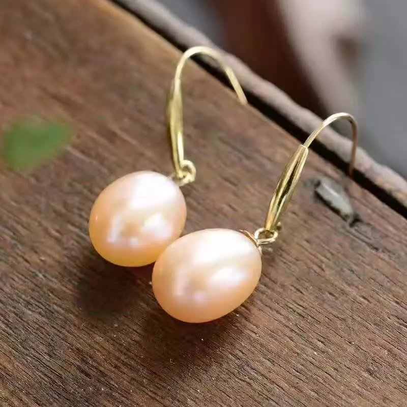 natural Orange pearl drop earrings 18k yellow gold women Elegant simple fashion drop Earrings for party water drop faux pearl drop earrings