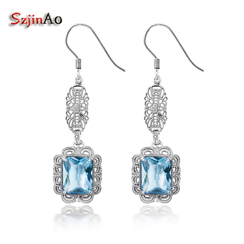 Szjinao Vintage Solid 925 Sterling Silver 3ct Sea Aquamarine Earrings for Women Wedding Party Handmade Gift WholesaleSzjinao Vintage Solid 925 Sterling Silver 3ct Sea Aquamarine Earrings for Women Wedding Party Handmade Gift Wholesale