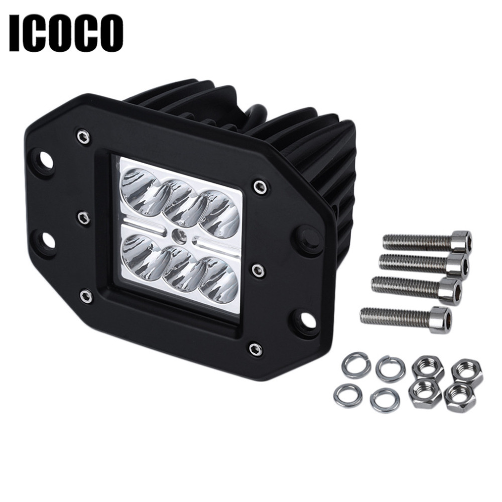 ICOCO 1pcs 4Inch 18W LED Spot Work Light Bar for Indicators Motorcycle Driving Offroad Boat Car Tractor Truck 4x4 SUV ATV 12V 18w led work light date running lights driving led bar offroad for indicators motorcycle boat car tractor truck 4x4 suv atv jeep