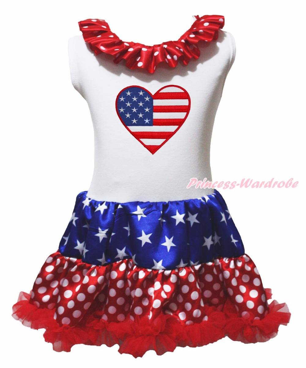 My 1st 4th July Dress USA Flag America Heart Shirt Stars Dot Red Blue Pettiskirt Girl Clothing 1-8y 4th july america flag style stripe pettiskirt white ruffle tank top 2pc set 1 8year mamg1143