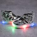 6 cores crianças shoes com luz crianças tênis brilhantes levou crianças iluminadas shoes criança menino led piscando meninas shoes asas