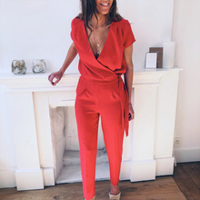 Summer Jumpsuit Women  Sexy V-Neck Short Sleeve Casual Work Romper Red Long Bodysuits Ladies Lace Up Hollow Out Overalls