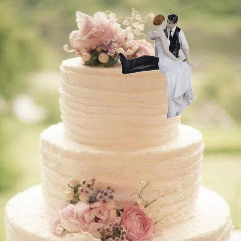 New Cute Romantic Funny Wedding Cake Topper Figure Bride Groom Couple Bridal Decoration Not Include Bench On Aliexpress