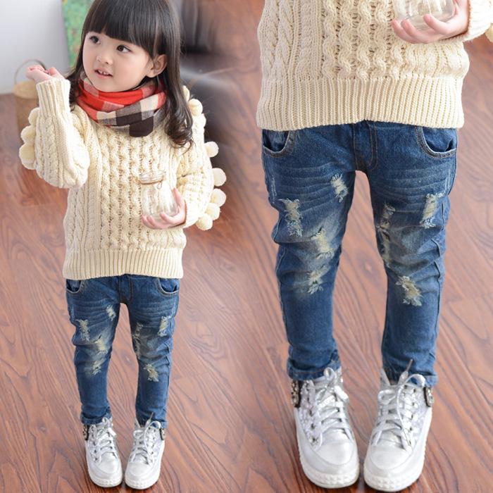 Spring Spring and Autumn New Hole Jeans Girl Children Baby Old Pants Denim Pants Tide 2-7 Ages Free Shipping