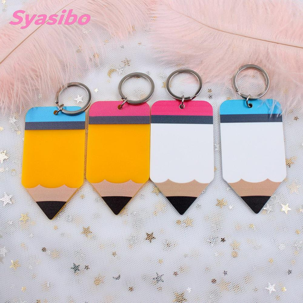 (4pcs)76mm Teacher Name Acrylic Pencil Keychain Teacher Appreciation Gift, Tutor, Educator, Backpack Tag  KC010-in Party DIY Decorations from Home & Garden