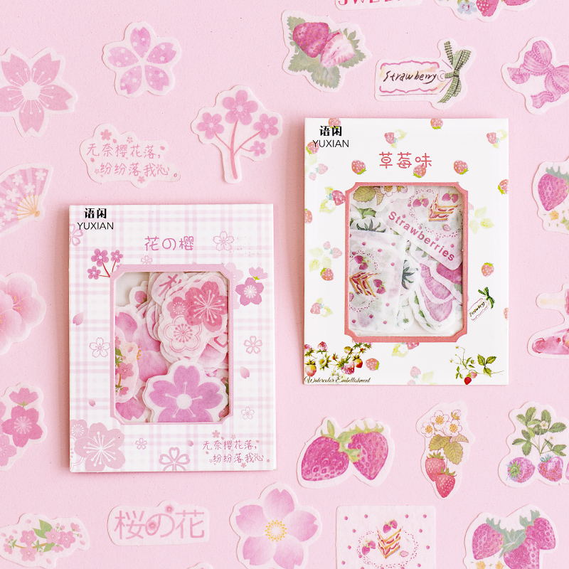 40 Pcs/pack Kawaii Stationery Sticker Set Pink Strawberry Flamingo Diy Decorative Stickers For Scrapbooking Album Planner Diary