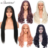 SNOILITE 24inch Brazilian Lace Front wig for women pre plucked Natural Hairline full head wigs synthetic lace front wig brown