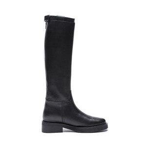 Image 3 - MORAZORA 2020 أعلى جودة جلد طبيعي حذاء برقبة للركبة النساء جولة تو ساحة الكعوب الخريف الأحذية سستة أحذية أنيقة امرأة