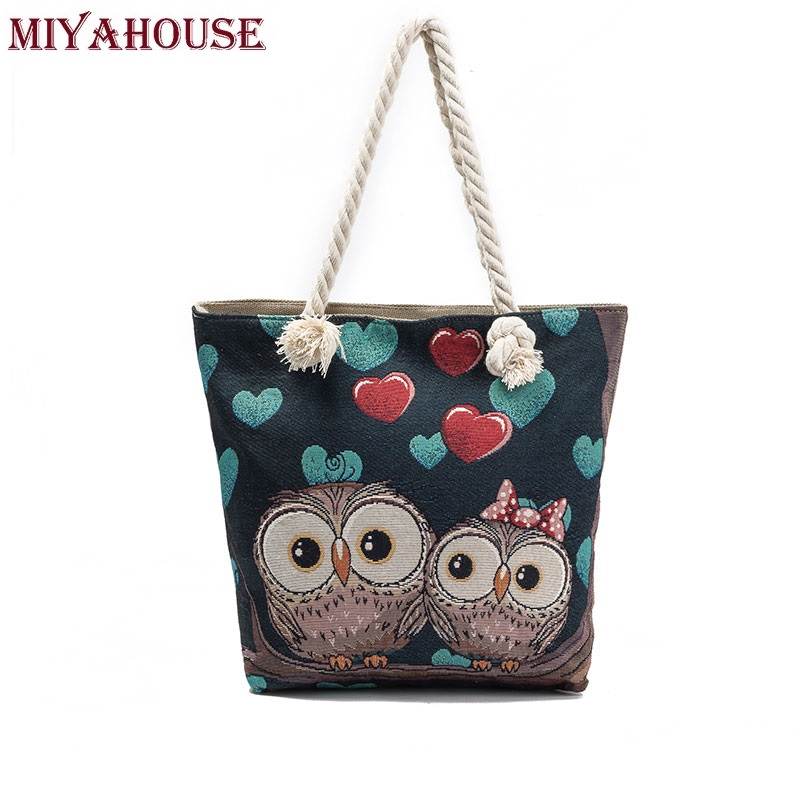 Miyahouse Women Beach Bag Owl Printed Canvas Handbags Large Capacity Ladies Shopping Bag Female Floral Single Shoulder Bag Bolsa miyahouse cute cat printed beach bag women large capacity shopping bags vintage female single shoulder bag canvas ladies handbag