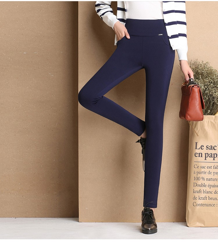 Thicken Warm Plus Velvet Women Trousers 16 Winter Black Red Blue High Waist Stretch Pencil Pants Female Fleece Office Pantalon 13