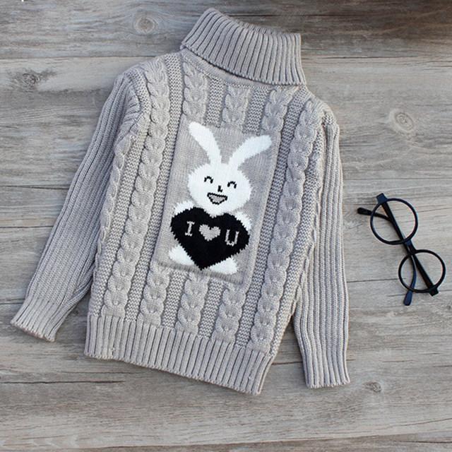 Crianças roupas de Alta qualidade bebê meninas meninos pullovers camisolas de gola alta 2017 outono/inverno quente dos desenhos animados crianças outerwear