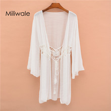New casual summer bohemian shirt bamboo cotton beach drop shoulder holiday cover for women