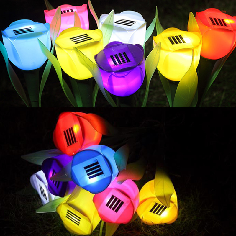 Colorful LED Solar Light Solar Power LED Lights Tulip Landscape Flower Lamp Outdoor Yard Garden Light Path Powered Tulip Lawn