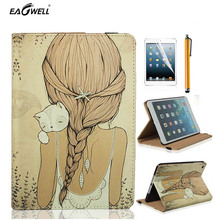 Cute Tablet Case For Apple iPad Air 2 6th For iPad mini 1 2 3 PU Leather Cartoon Girl Cat Stand Cover Funda Protctive Skin Shell