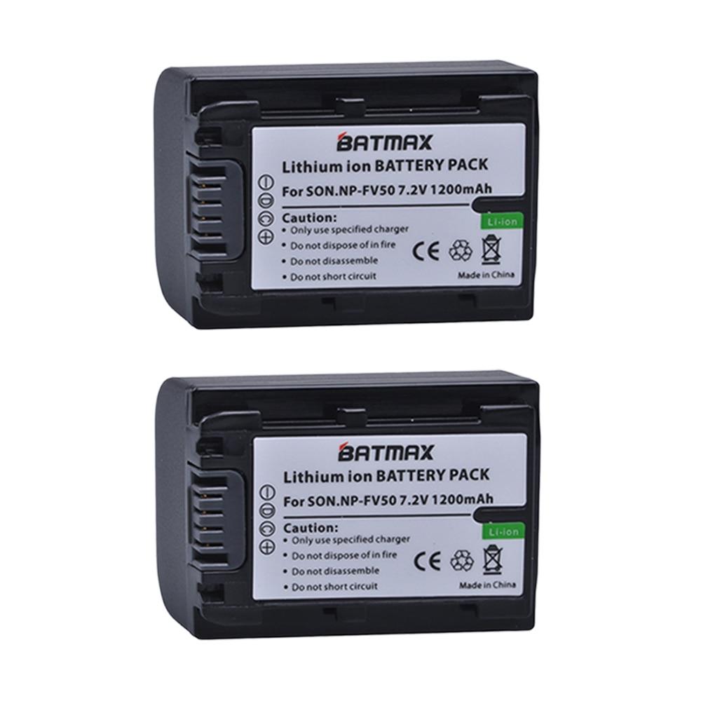 Batmax 2Pcs NP-FV50 NP FV 50 NPFV50 Rechargeable Battery for Sony NP-FV30 NP-FV40 HDR-CX150E HDR-CX170 HDR-CX300 FV70 FV100 FH50